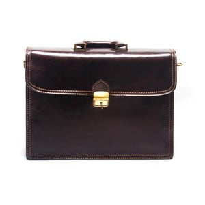 Tmavě hnědá kožená kabelka Roberta M Estela