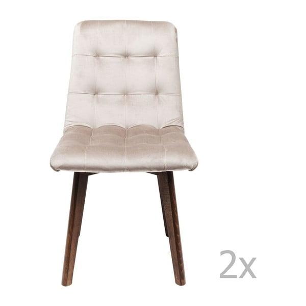 Sada 2 sivých kožených jedálenských stoličiek Kare Design Moritz