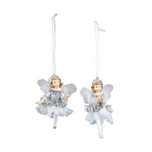 Sada 2 závěsných vánočních dekorací v bílé a stříbrné barvě Ego Dekor Fairies