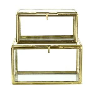 Set 2 skleněných boxů Small Brass