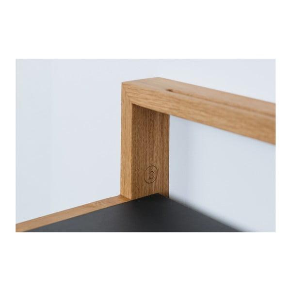 Police s antracitově šedým detailem z dubového dřeva das kleine b Buck, 75 x 15 cm