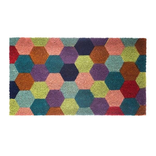 Rohožka z kokosových vláken Hexagon, 40x70 cm