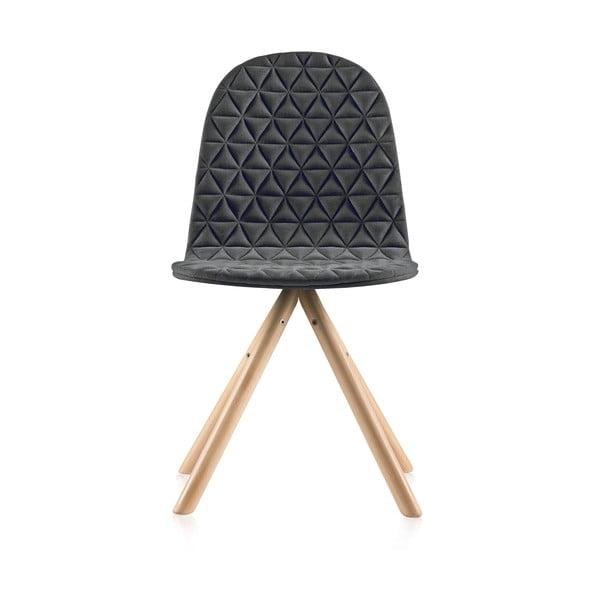 Scaun cu picioare în nuanță naturală IkerMannequinTriangle, gri închis