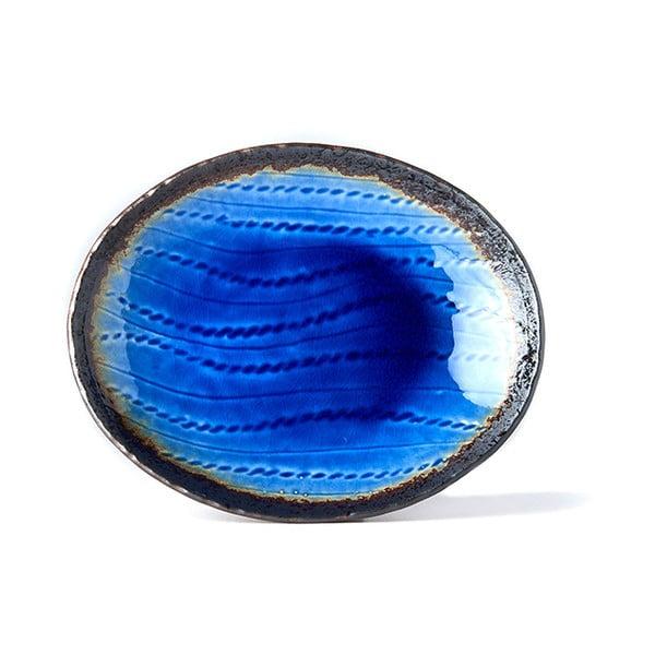 Niebieski owalny półmisek ceramiczny MIJ Cobalt, 24x20 cm