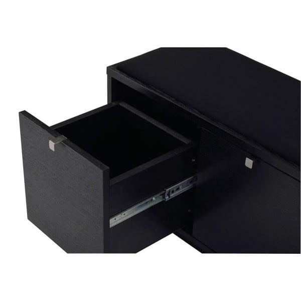 Černá lavice s úložným prostorem a s černým sedákem Folke Confetti, šířka 106cm