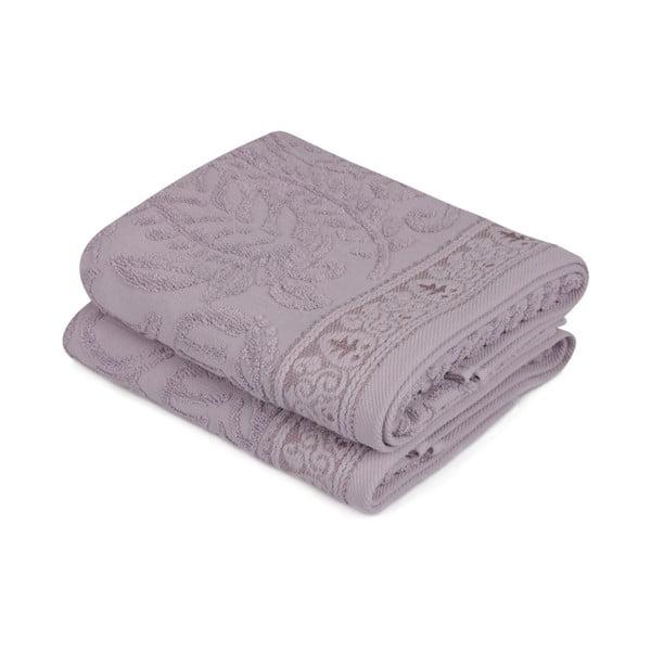 Komplet 2 fioletowych ręczników na ruce Catherine, 50x90 cm