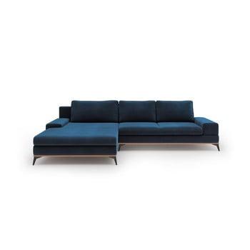 Canapea extensibilă cu înveliș de catifea Windsor & Co Sofas Astre, pe partea stângă, albastru de la Windsor & Co Sofas