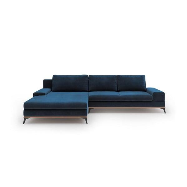 Modrá rozkladacia rohová pohovka so zamatovým poťahom Windsor & Co Sofas Astre, ľavý roh