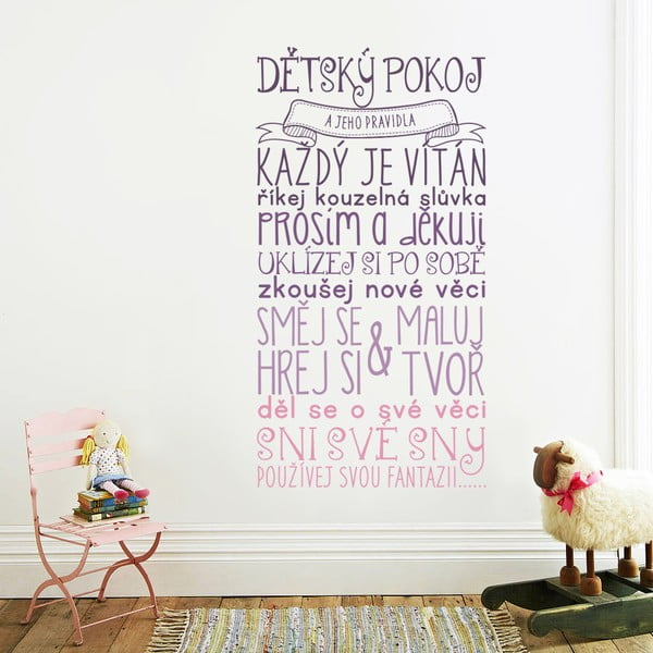 Dekorativní samolepka na zeď Pravidla dětského pokoje, růžová