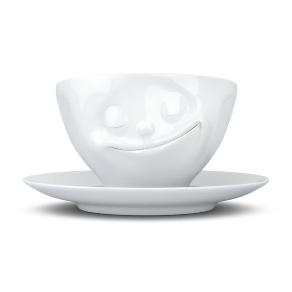Ceașcă din porțelan pentru cafea 58products Happy, alb, 200 ml