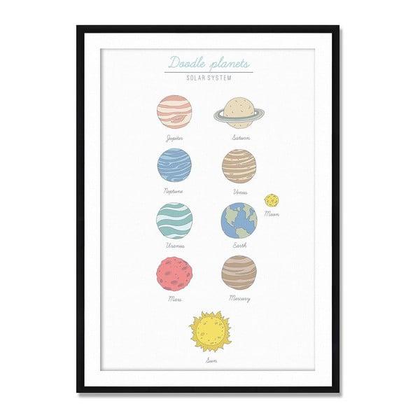 Zarámovaný obraz Doodle Planets, 50x70 cm