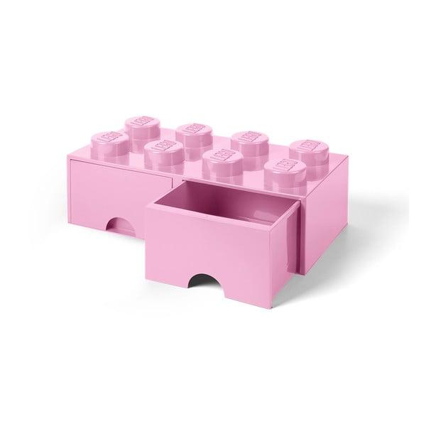 Cutie depozitare cu 2 sertare LEGO®, roz deschis