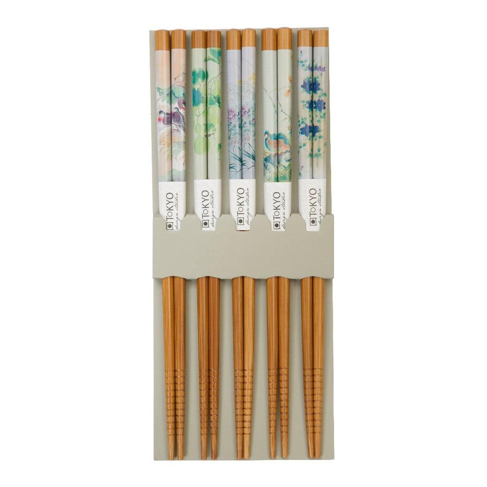 Sada 5 bambusových párů hůlek Tokyo Design Studio Sushi