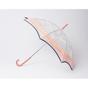 Transparentní deštník Vichy, oranžový