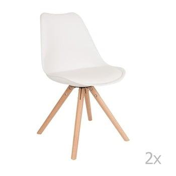 Set 2 scaune cu picioare din lemn de fag White Label Tryck, alb de la White Label