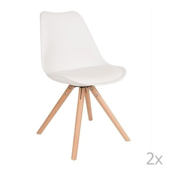 Set 2 scaune cu picioare din lemn de fag White Label Tryck, alb