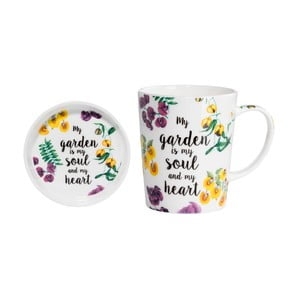 Set hrnku s podnosem z kostního porcelánu Maxwell & Williams Soul Heart, 400 ml