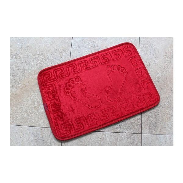 Czerwony dywanik łazienkowy z motywem chodidel Feet Feet, 60x40 cm