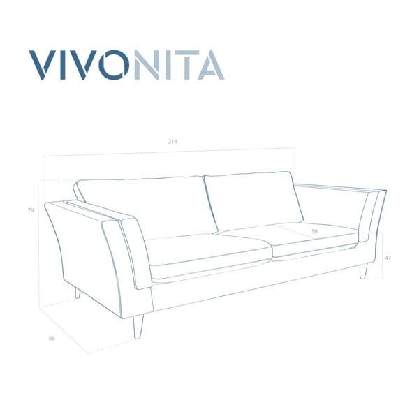 Tyrkysová třímístná pohovka Vivonita Connor