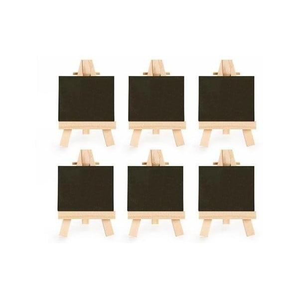 Sada 6 malých kriedových tabúľ so stojanom Kikkerland Class