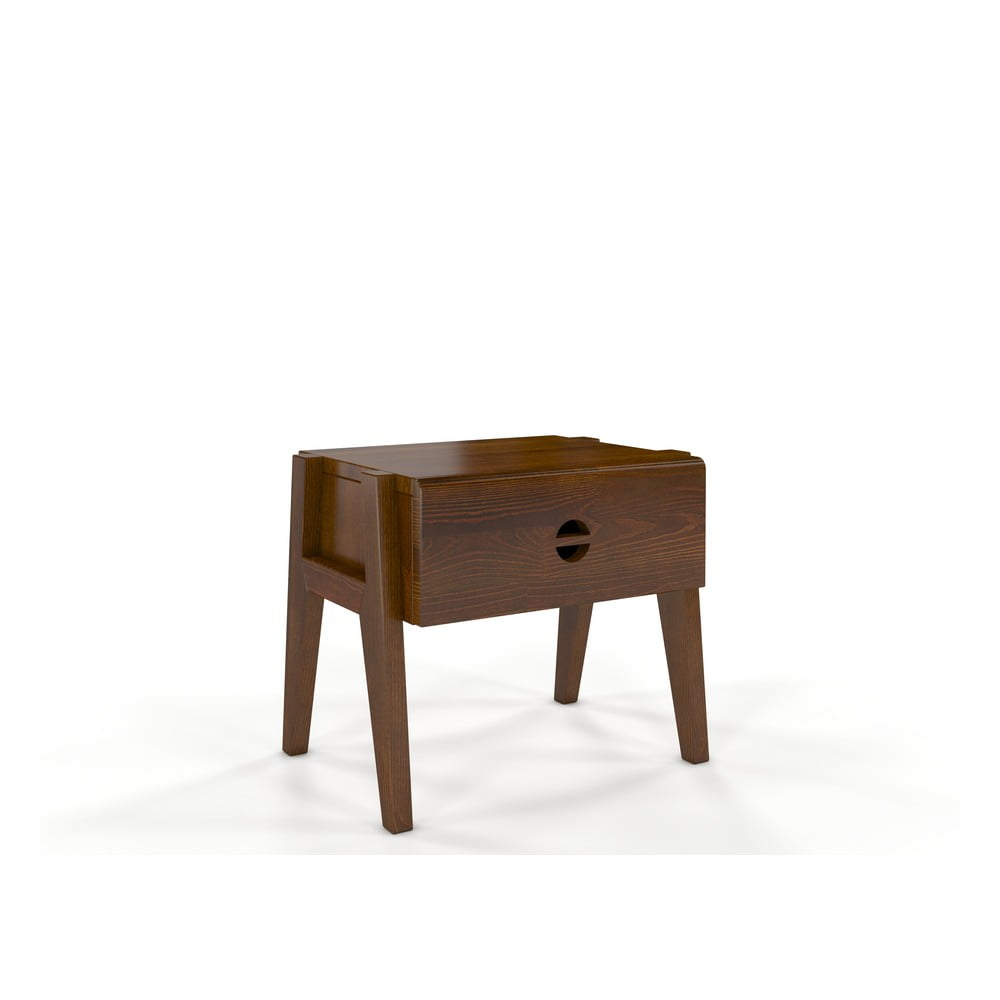 Noční stolek z borovicového dřeva se zásuvkou v dubovém dekoru Skandica Visby Radom