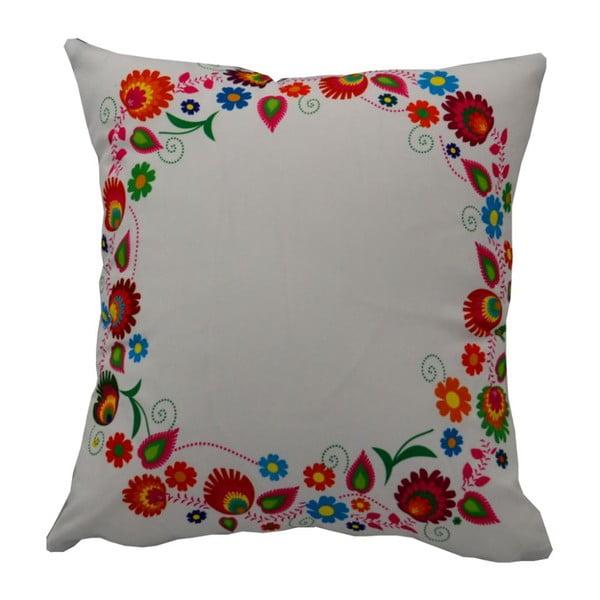 Polštář s náplní Folk Flowery Grey, 40x40 cm