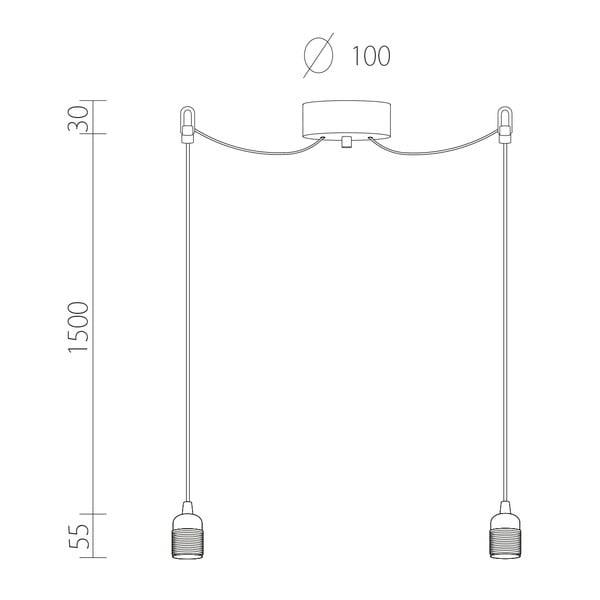 Dvojitý závěsný kabel Uno, stříbrná/černá/stříbrná