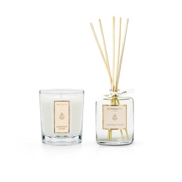 Set vonné svíčky a difuzéry s vôňou gardénie a ľalie v darčekovom balení Bahoma London