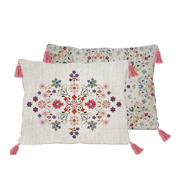Oboustranný povlak na polštář s příměsí lnu Madre Selva Flowers Tapestry, 50x35cm