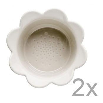 Set 2 boluri din porțelan Sagaform Flowers, 13 x 6,5 cm, bej