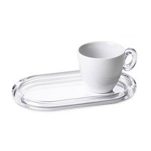 Šálek s táckem, bílý