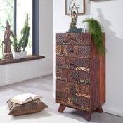 Comodă cu 6 sertare din lemn reciclat Skyport CARVED