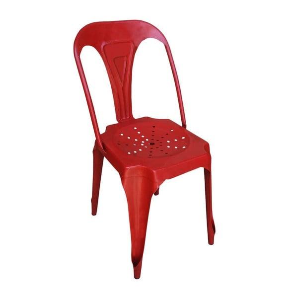 Czerwone krzesło z metalu Antic Line Pedro