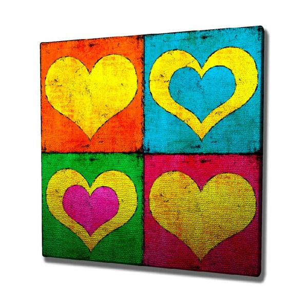 Color Hearts vászon fali kép, 45 x 45 cm
