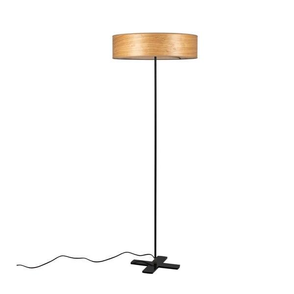 Jasnoszara lampa stojąca lampa z abażurem z naturalnego forniru Bulb Attack Ocho