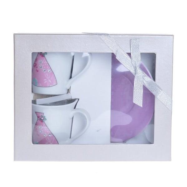 Porcelánové šálky na cappuccino s podšálky Sukně, 2 ks