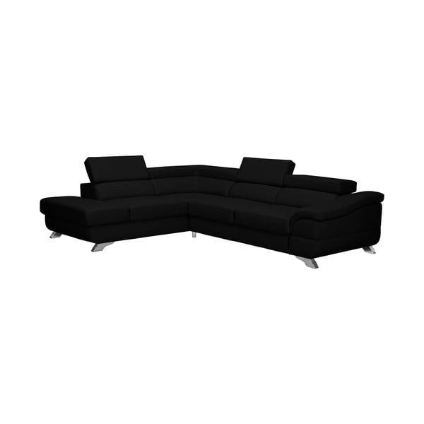 Černá rozkládací rohová pohovka koženkového vzhledu Windsor & Co Sofas Gamma, levý roh