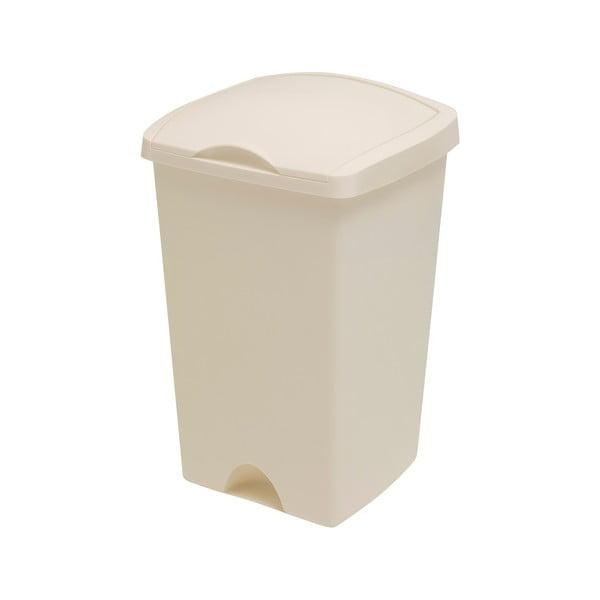 Krémový odpadkový koš s vyklápěcím víkem Addis, 38 x 34 x 59 cm