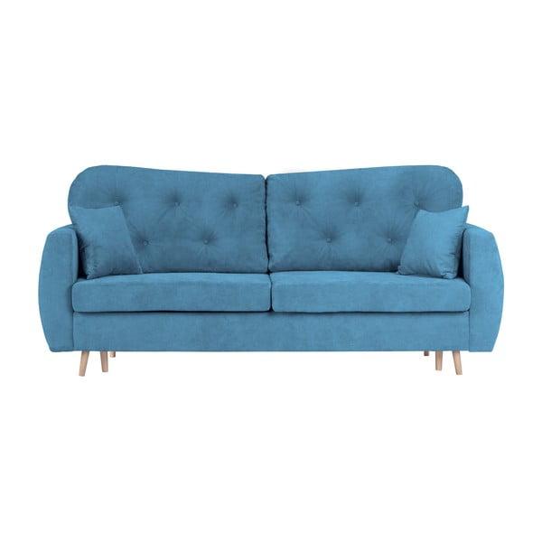 Orchid kék kihúzható háromszemélyes kanapé, ágyneműtartóval - Mazzini Sofas