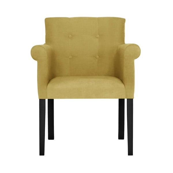 Žlutá židle s černými nohami z bukového dřeva Ted Lapidus Maison Flacon