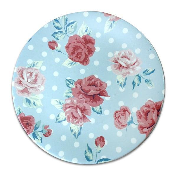 Světlemodrý keramický talíř Roses, ⌀26cm