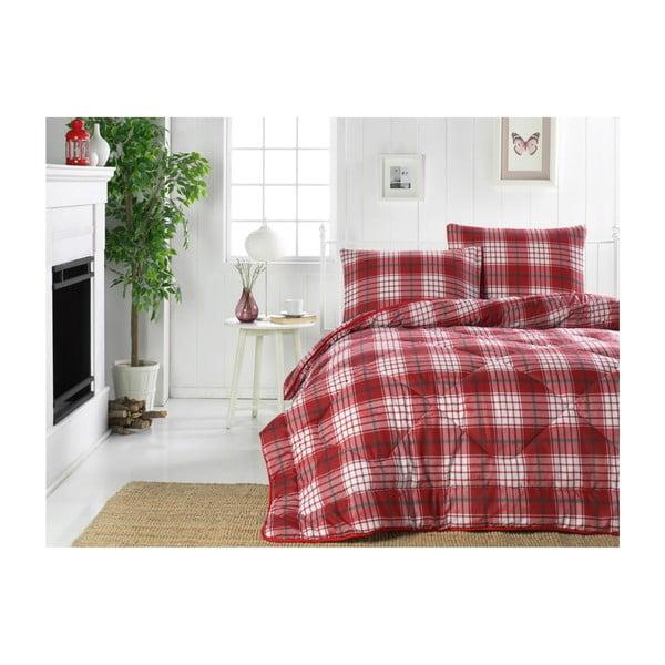 Country Harmony Red kétszemélyes szteppelt ágytakaró, 195 x 215 cm