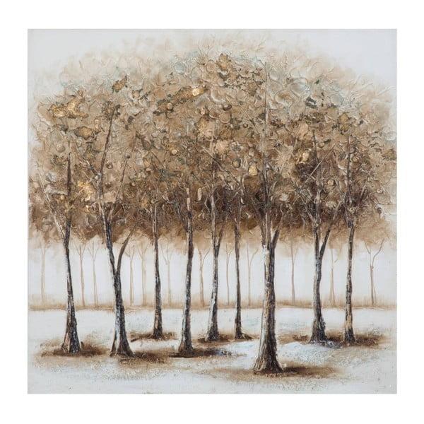 Alberi Night kézzel festett kép fenyőfa keretben, 80 x 80 cm - Mauro Ferretti