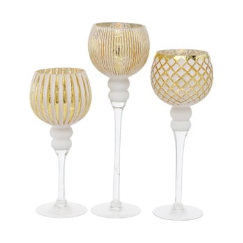 Set 3 sfeșnice Boltze Manou, auriu-alb