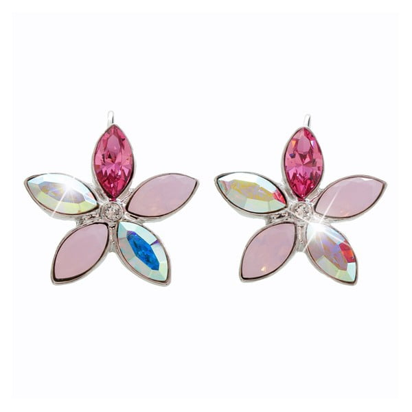 Náušnice s růžovými krystaly Swarovski® Yasmine Flower