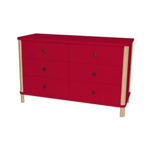 Červená nízká komoda s 6 zásuvkami Ragaba Ashme Boy