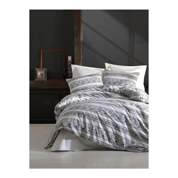 Lenjerie de pat cu cearșaf din bumbac ranforce, pentru pat dublu Mijolnir Pizza White, 200 x 220 cm