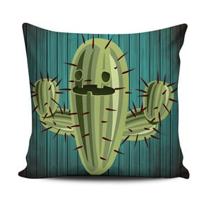 Zelenobílý polštář Home de Bleu Cactus Face, 43x43cm