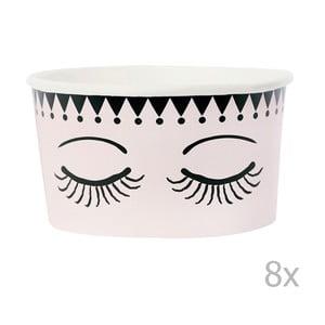 Sada 8 papírových kelímků na zmrzlinu se lžičkami Miss Étoile Eyes And Dots