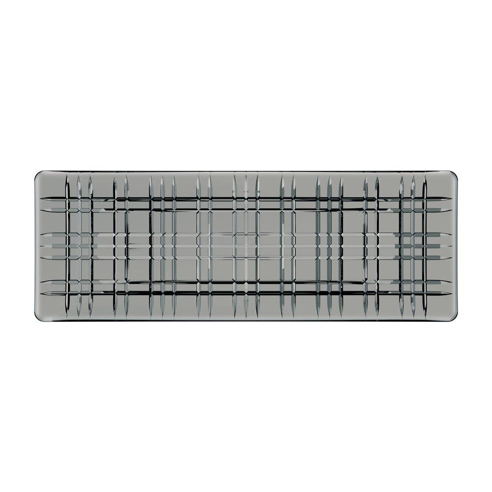 Šedý čtvercový servírovací tác z křišťálového skla Nachtmann Square Plate Smoke, délka 42 cm